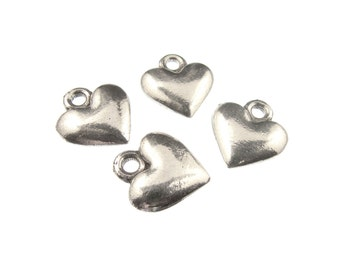 Small Heart Charm,  QTY: 6 Simple Heart Charms - See Photos For Other Finish Options