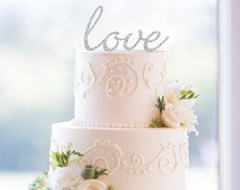 Glitter Script Love Cake Topper – Custom Wedding Cake Topper Available in 31 Glitter Options- (T077)