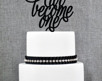 Two Become One Wedding Cake Topper, Script Two Become One Cake Topper, Modern Wedding Cake Topper- (T133)