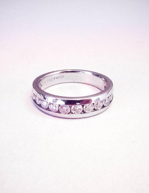 floating track diamond white gold wedding band
