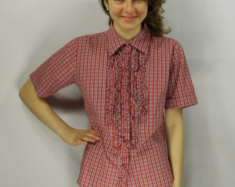 Womens Cotton Plaid Red White Black Short Sleeve Shirt Flounces Checkered Red White Summer Secretary Blouse