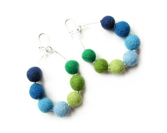 Felted earrings felt earrings blue green felt wool earrings felted balls spring women's gift
