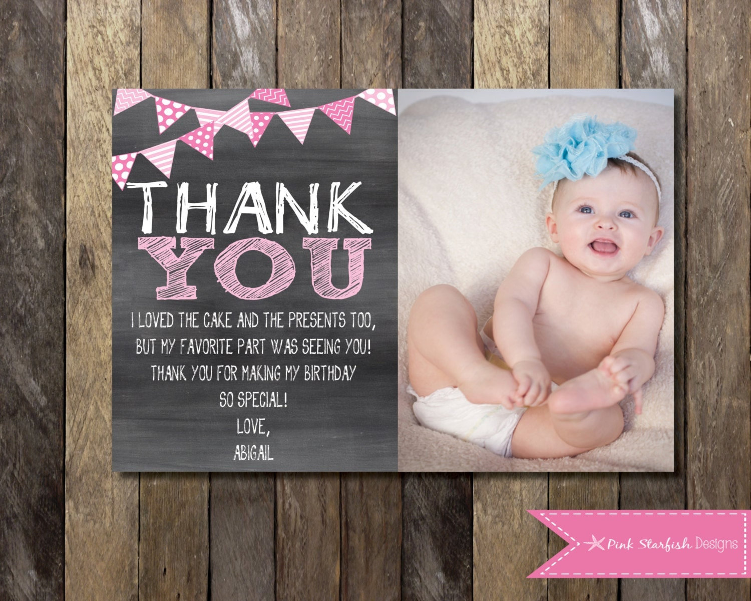Chalkboard Thank You Card with Picture Chalkboard Thank You – First Birthday Thank You Cards