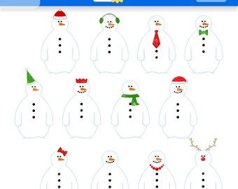 Snowman clipart | Etsy