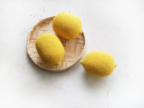 Crochet  toy Yellow lemons  /Set of 3 / Soft eco-friendly play food toy /  kid's room decor / kitchen Decor