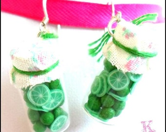Pending Lima, Greens, fruit, Lemon, Lime, Kawaii Earrings
