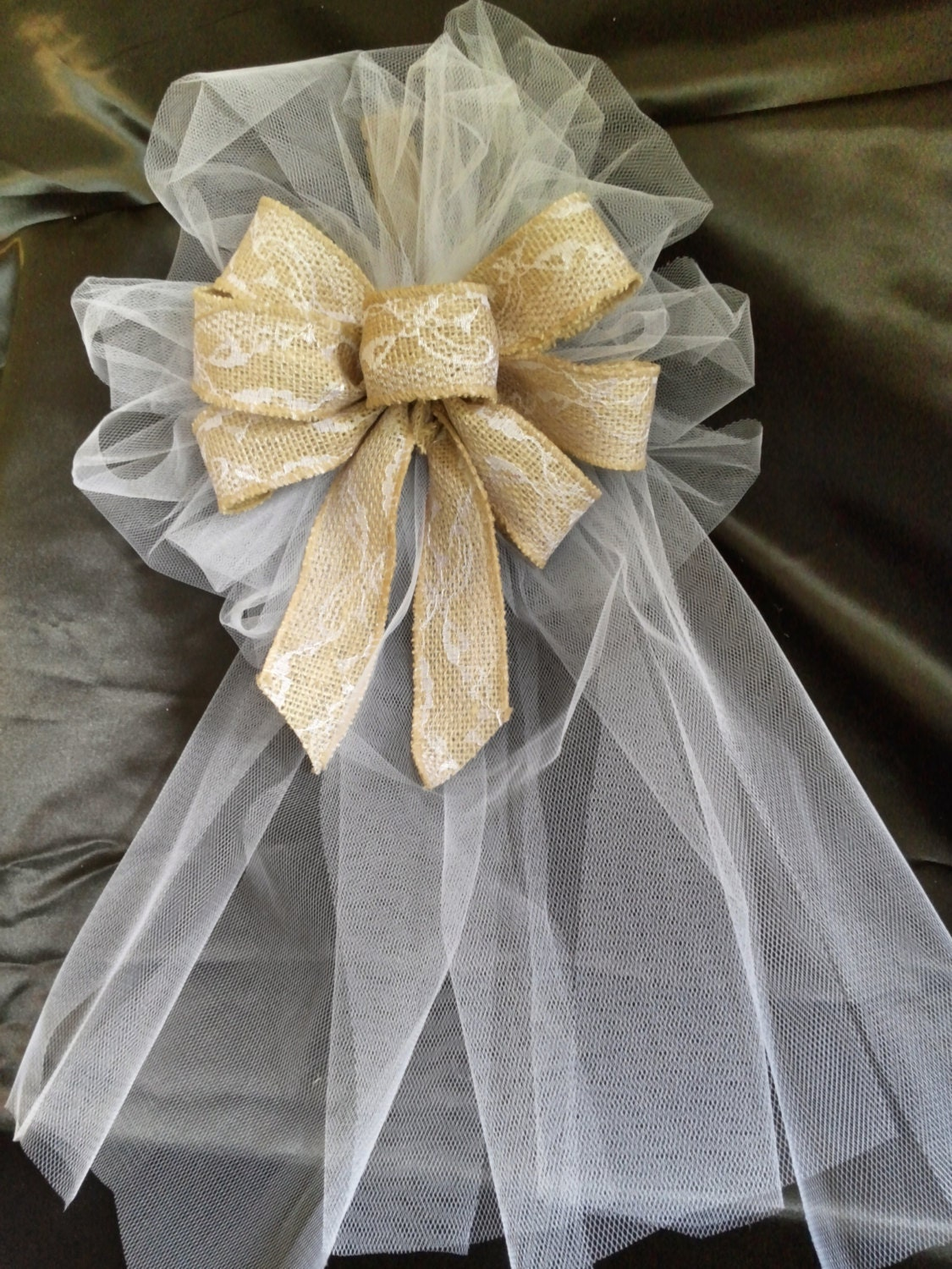 Set of 10 wedding pew bows brown burlap ribbon bows with lace - Bow decorations for weddings ...