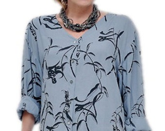 Women's Plus Size Shirt with Classic Sleeve and Button Front | Handmade Women's Clothing in Plus Size xl 1x 2x 3x for the Full Figure Woman