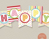Rainbow Happy Birthday Banner Printable (INSTANT DOWNLOAD)