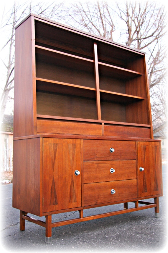 items similar to sold vintage stanley furniture mid Rustic China Hutch and Buffet Black China Hutch and Buffet