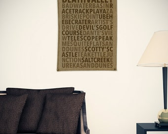Death Valley/National Parks Typography Burlap Wall Banner
