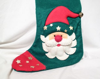 Vintage Holiday Santa Stocking
