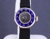 Preciosa Blue Enamel and 14K Gold Wrist Watch