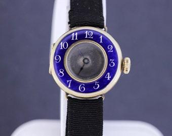 Preciosa Blue Enamel and 14K Gold Wrist Watch