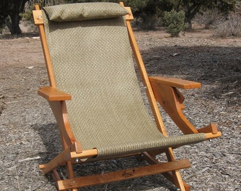 "SALE - Alder Wood Sling Chair With Arm Rests, Headrest, and Handle in Brown Wicker Weave Outdoor Fabric ""Shoshone Prospector"" Deck Chair"