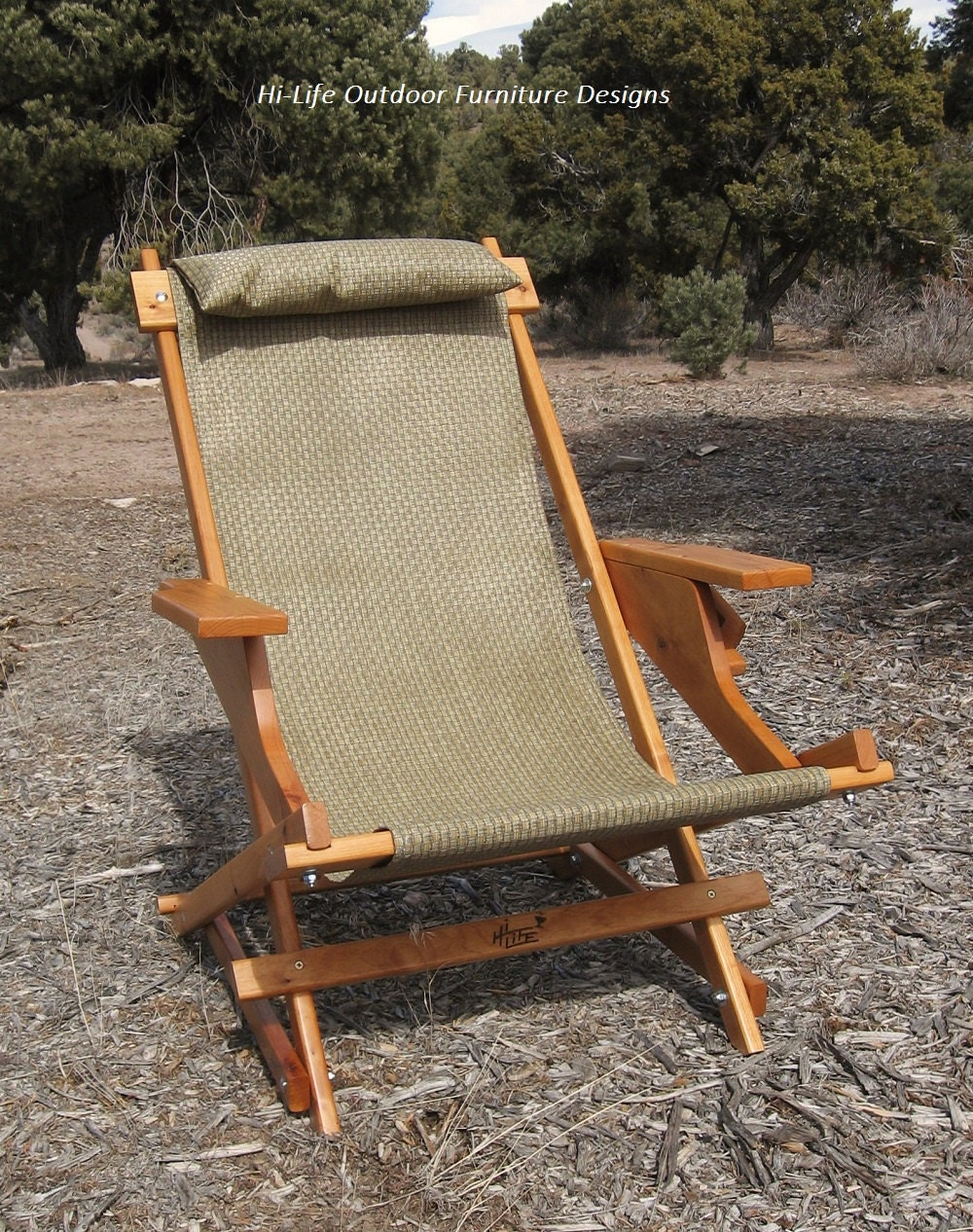 Sale Alder Wood Sling Chair With Arm Rests Headrest And