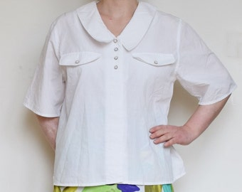 L/XL Vintage 80s/90s blouse White cotton, short sleeve, decorative buttons, rounded collar