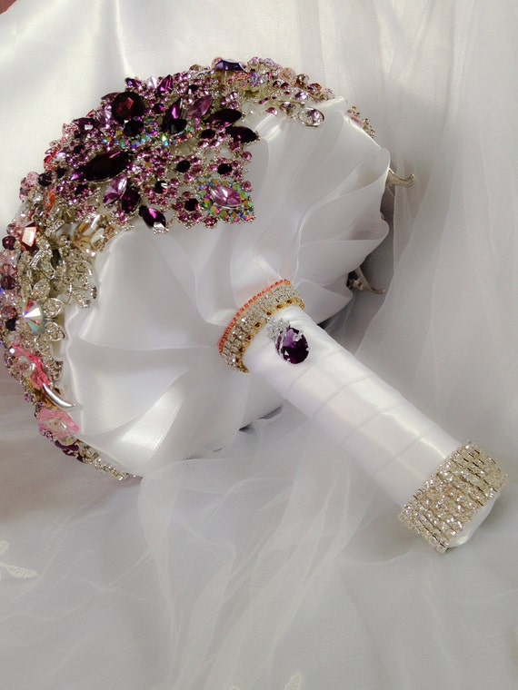 wedding bouquet bling pink purple wedding brooch bouquet deposit on made to order 8443