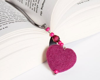 Needle Felted Wool Bookmark Purple Heart Sculpture Wool Dark Silver Tone Decor Christmas Valentine's Mother's Day Present Gift