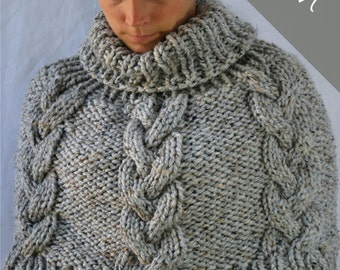 Knitting PATTERN - Braided Cable Poncho Cape - Chunky Cape - Easy