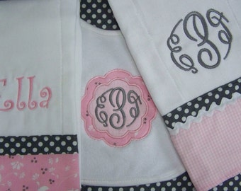 Monogram Baby Girl Bib and 2 Burp Cloths Set Personalized Custom Made to Order 3 Piece Set