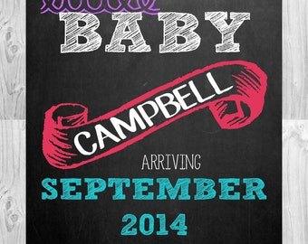Pregnancy Announcement Chalkboard Photo Prop | Size: 11x14 | *Digital File* | by MMasonDesigns
