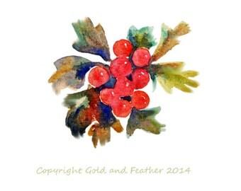Autumn berries  Watercolour Clip Art