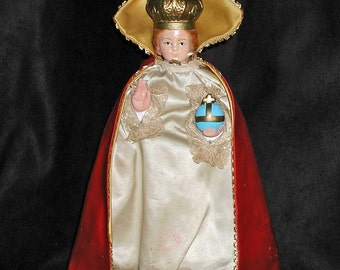 "Infant of Prague Statue Beautifully Restored Chalkware 12"" Tall  1950s"
