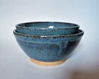 Pair of Nesting Blue Stoneware Bowls
