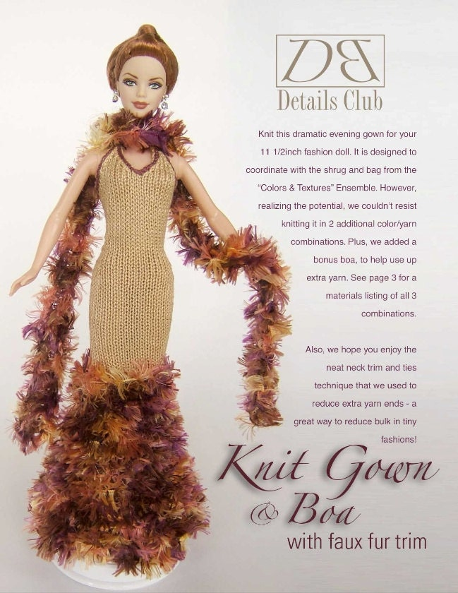 Barbie Knitting Patterns To Download : Knitting pattern for 11 1/2 doll Barbie: Knit Evening