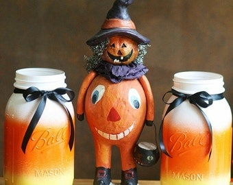 Halloween Decoration - Candy Corn Mason jar - Mason Jar - Thanksgiving Centerpiece - Halloween Decor - Fall Decor - Halloween Wedding Decor
