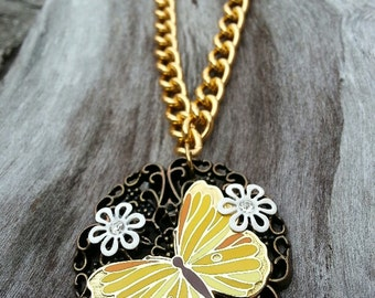 Necklace - Vintage Butterfly Pendant