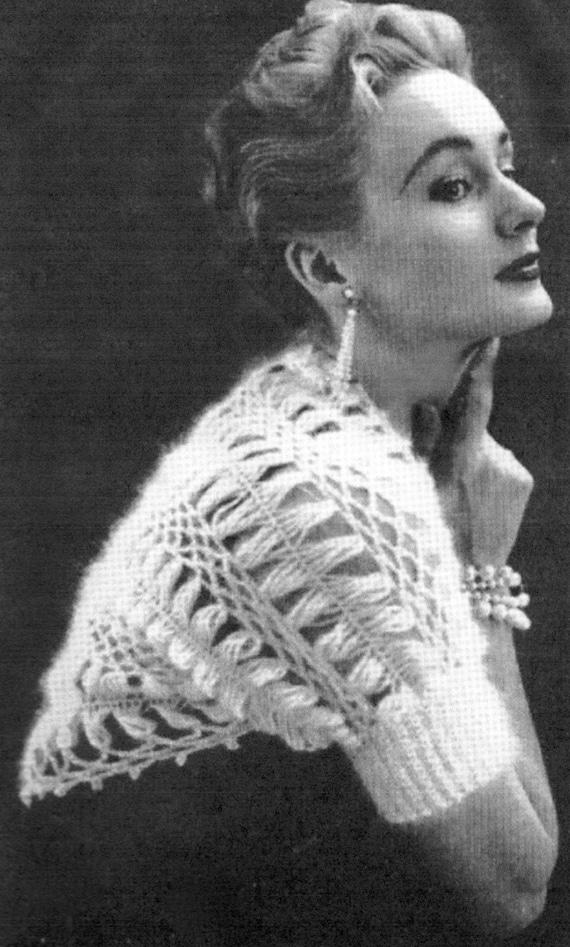 Free Vintage Crochet Bolero Patterns : Gossamer Shrug Vintage Crochet Stole Pattern bride bridal
