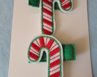 Candy Cane Alligator Clippies