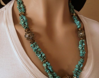Turquoise Magnesite Chip and Brass Filigree Necklace - Southwestern Style - Country Western - Cowgirl - Statement