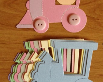 15 large Pastel Baby Train die cuts for cards/toppers cardmaking-scrapbooking craft project