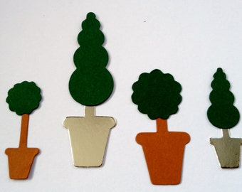 30 piece Topriary Tree die cuts with Pots - 2 shapes & sizes *mixed pack brown or silver*