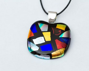 Chunky Black and Bright Colorful Glass Pendant