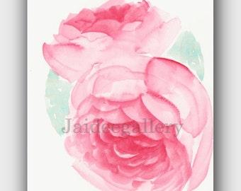 Watercolor painting original, Original watercolor art,Floral rose painting,4x6in. Art flower painting on paper.