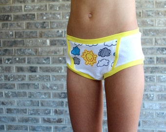 PDF Pattern: Big Girl Briefs modest  undies pattern two waist options without side seams refashion suggestions