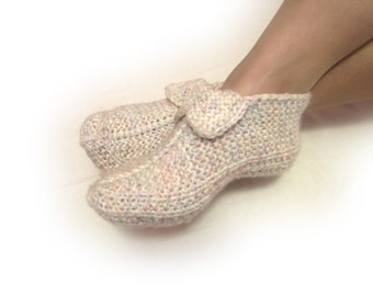 grey white knit slippers, thick woman house slippers, wool melange slippers, christmas gift, friend gift, size 5 6 7 8 9 10 11 12