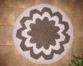"Round Crochet Rug Brown Grey Pink Rug Bedroom Rug Kitchen Rug Livingroom Rug  38"""