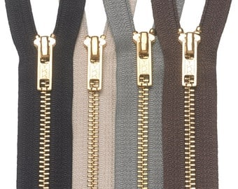 "BZ5226NSDG - YKK Zipper #5 Brass Two-Way Non-Separating Coverall 26"" - Dark Gray"