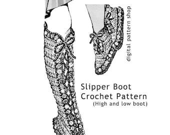 Crochet Pattern Slipper Boot Vintage High Laced Boot & Low Laced Slipper Crochet Pattern PDF Instant Download Size Adult Teen S M L - C04
