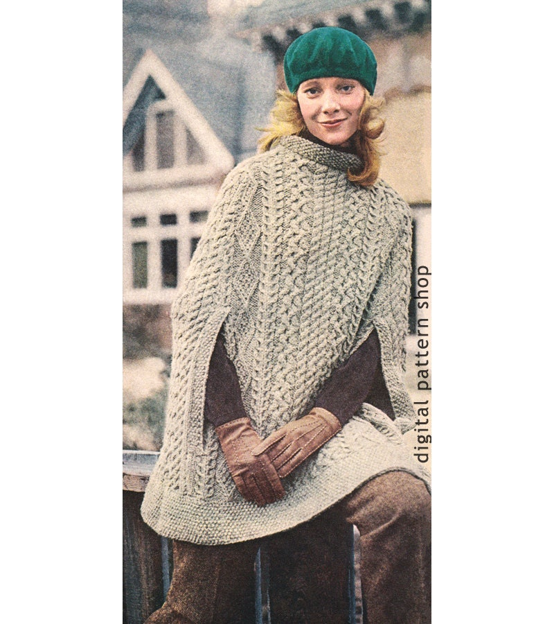 Knitting Pattern Cape Arm Slits : Vintage 1970s Knit Cape Pattern Womens Irish Aran Poncho
