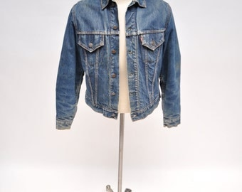 vintage LEVIS big E denim jacket jean distressed 1960s blanket lined indigo
