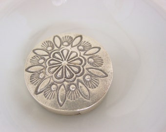 Thai Silver Bead Flower Design Sterling Silver .925 Large Bead - #869B