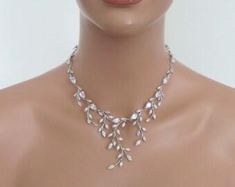 Bridal necklace set, Wedding jewelry set, Crystal earrings, Rhinestone necklace, CZ earrings, Cubic zirconia jewelry, Statement necklace