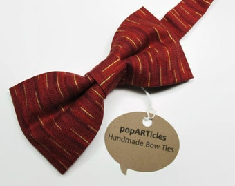 Red Bow Tie - Red and Gold Bow Tie - Handmade Men's Pre-Tied Bow Tie - Striped Bow Tie - Scarlet Bow Tie - Crimson Bow Tie