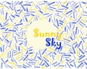 "Sunny Sky Palette Custom Name Fabric Material for Applique, ITH, & Craft Projects. Full 18""x12"" or Half 12""x8"""